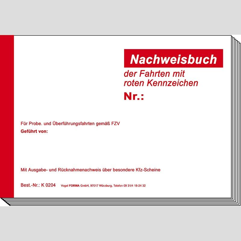 nachweisbuch f r fahrten mit rotem kennzeichen f r 180 eint. Black Bedroom Furniture Sets. Home Design Ideas