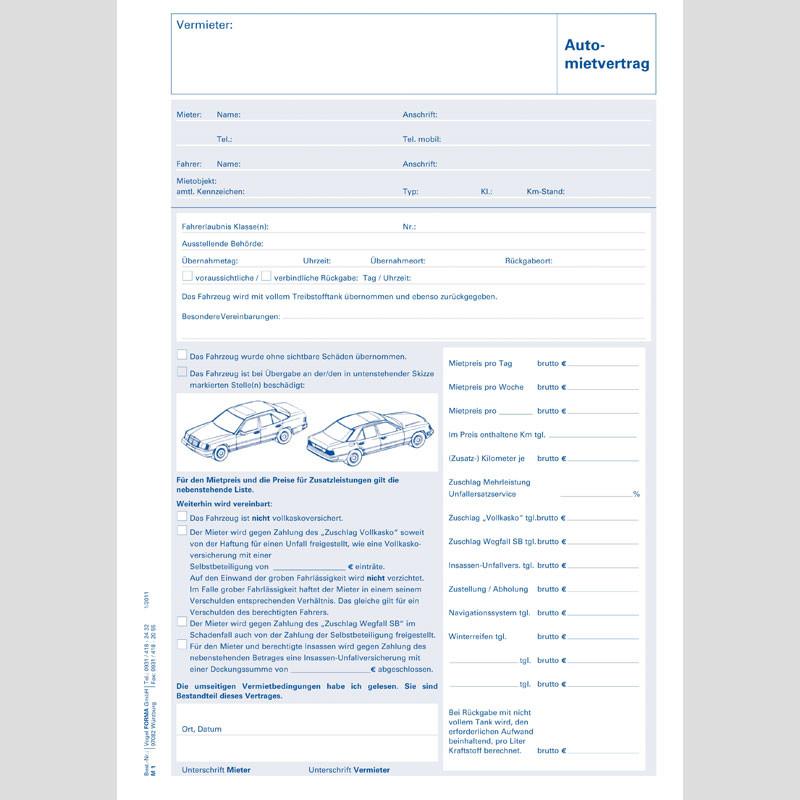 Automietvertrag inkl. Rechnungslegung, 25 Stück/Block