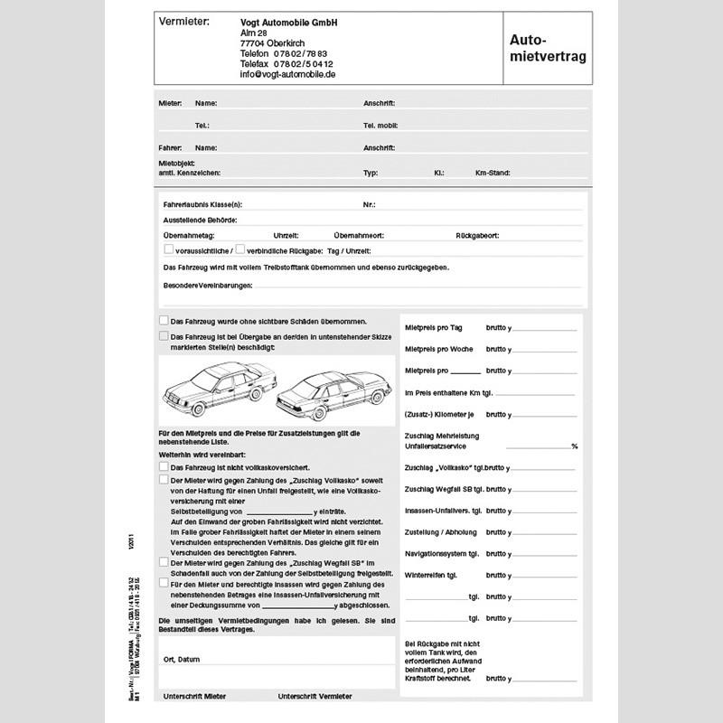 Automietvertrag Inkl Rechnungslegung 25 Stückblock